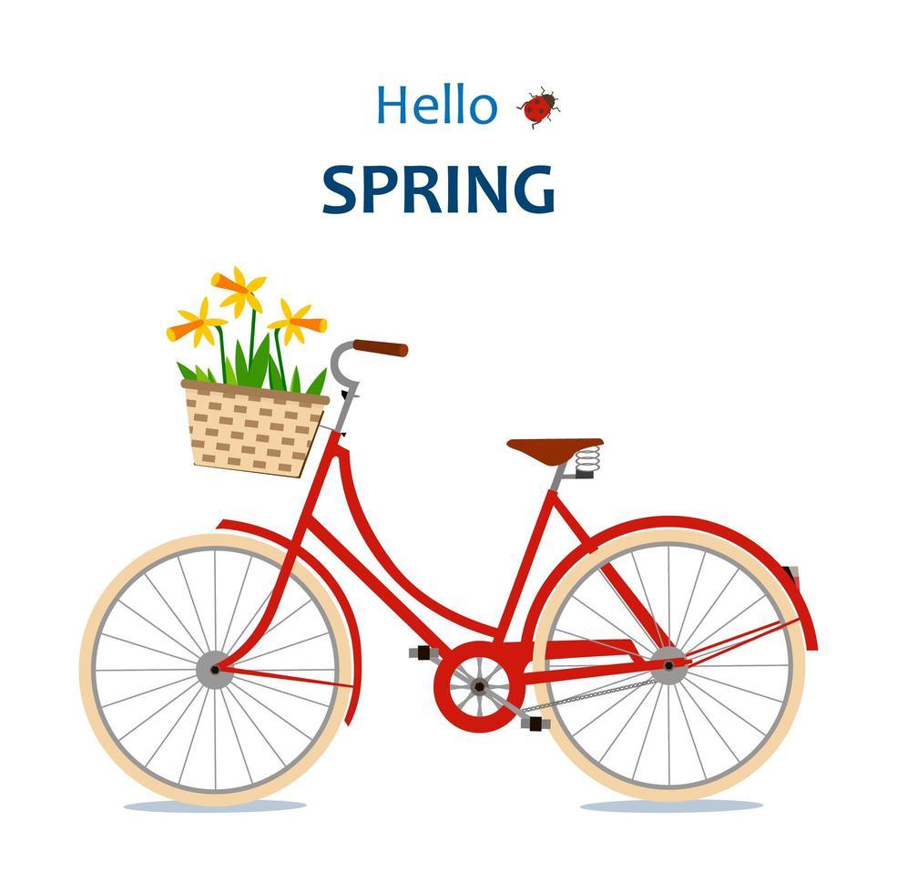 ciao card di primavera con la bicicletta vettore