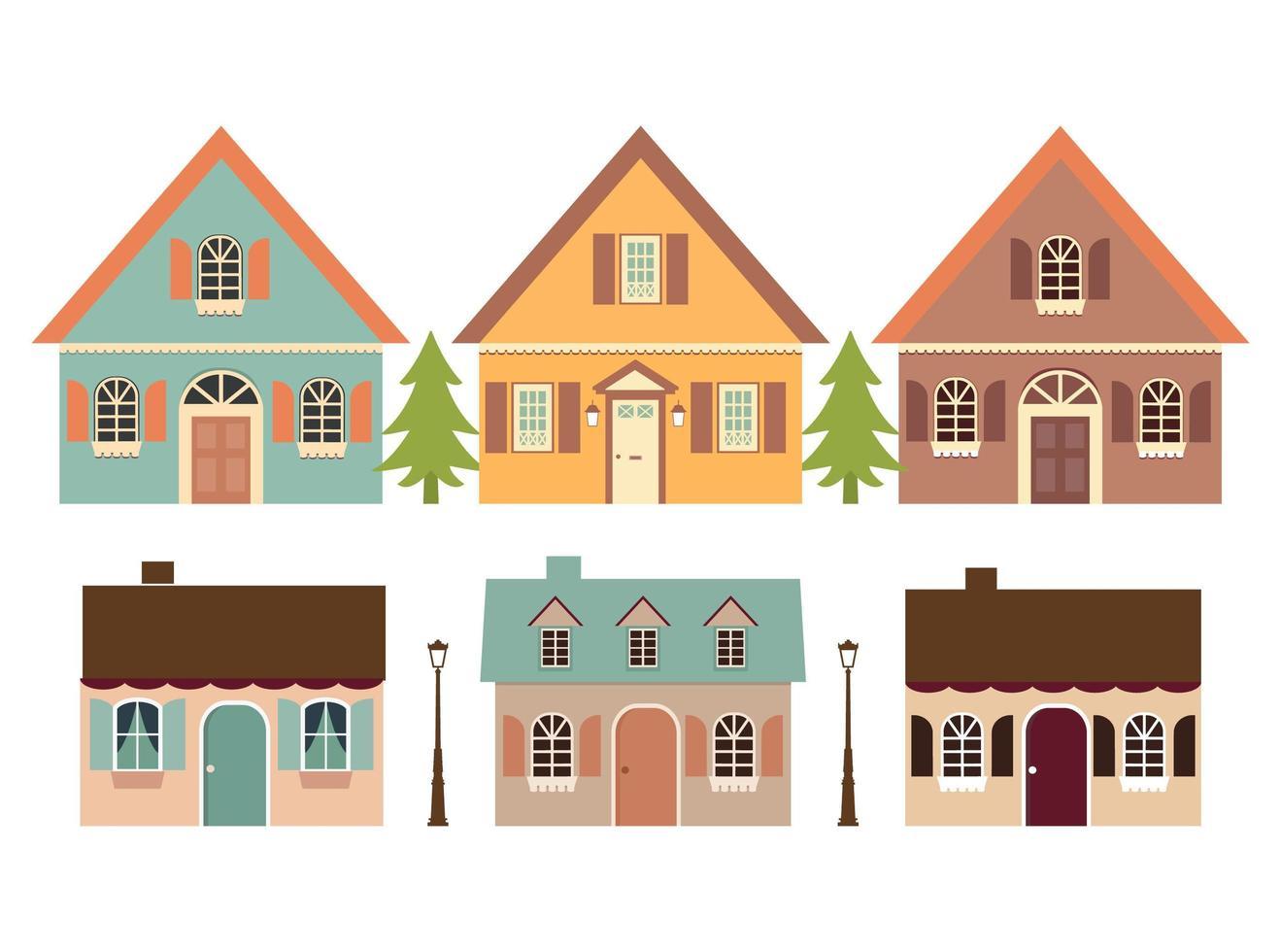 insieme di cottage e alberi. vettore