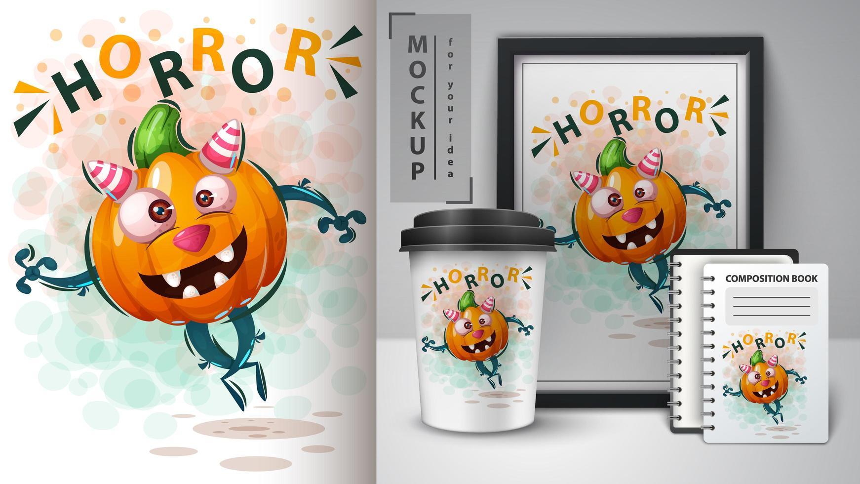 zucca di halloween poster horror carino vettore