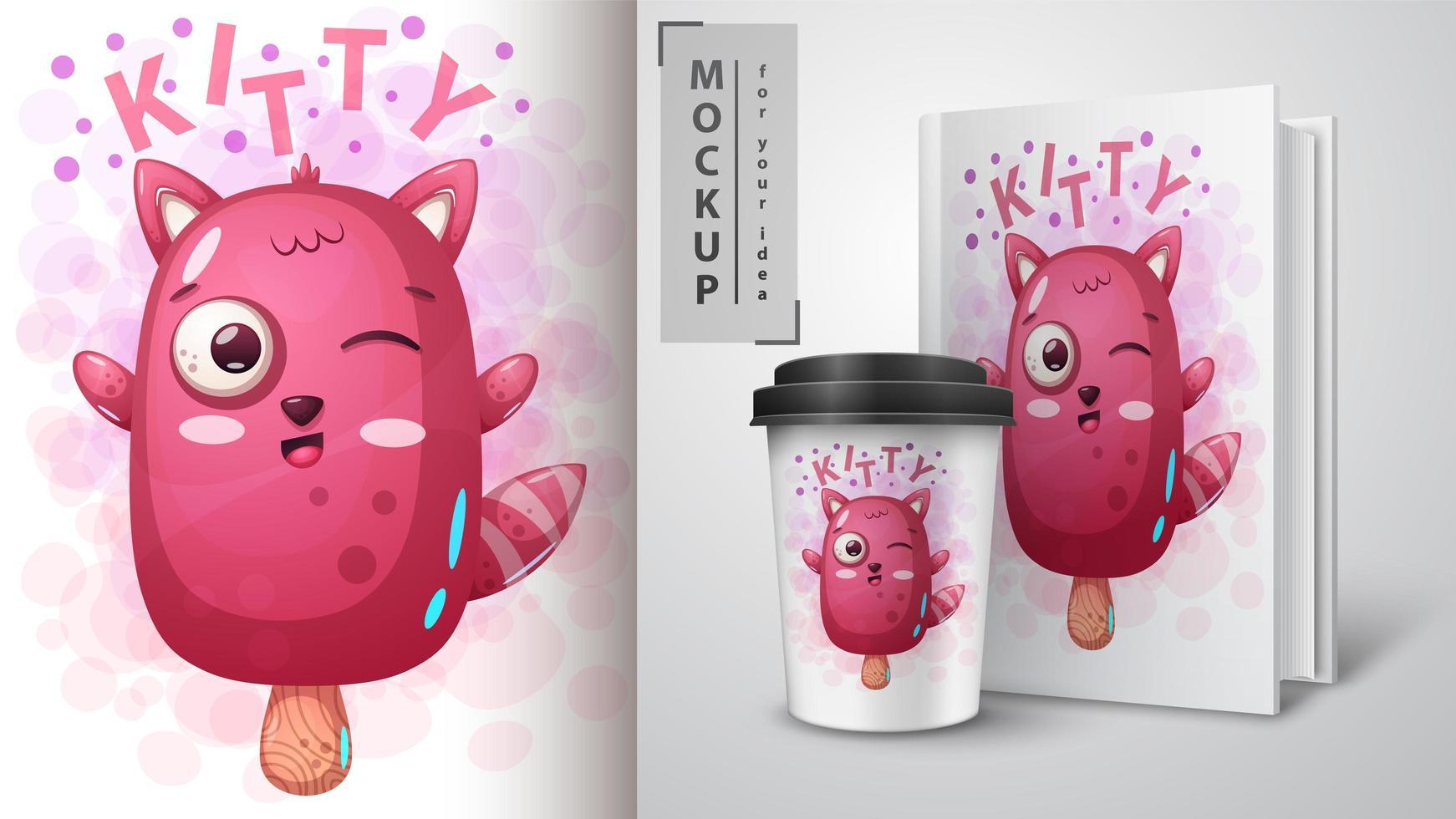 simpatico design da gelato rosa gattino vettore