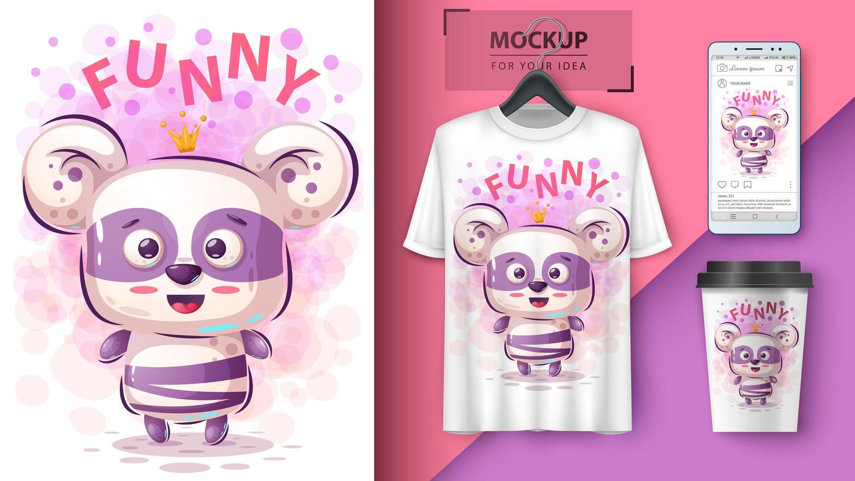 cartone animato divertente principessa panda vettore