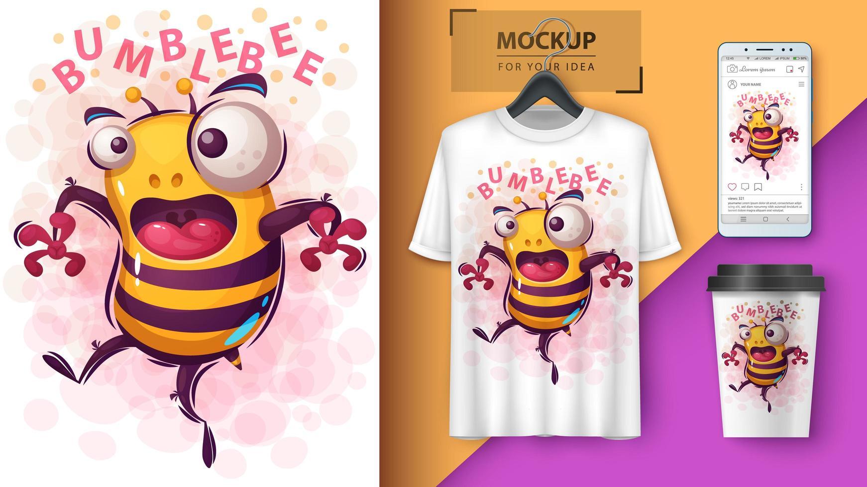 cartone animato carino pazzo disegno ape vettore