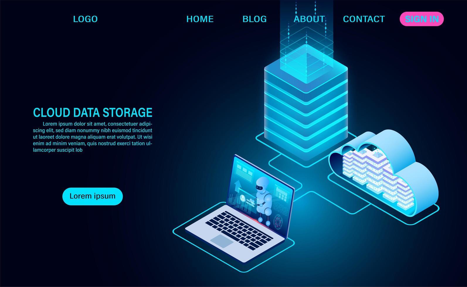 archiviazione dati cloud e sala server vettore
