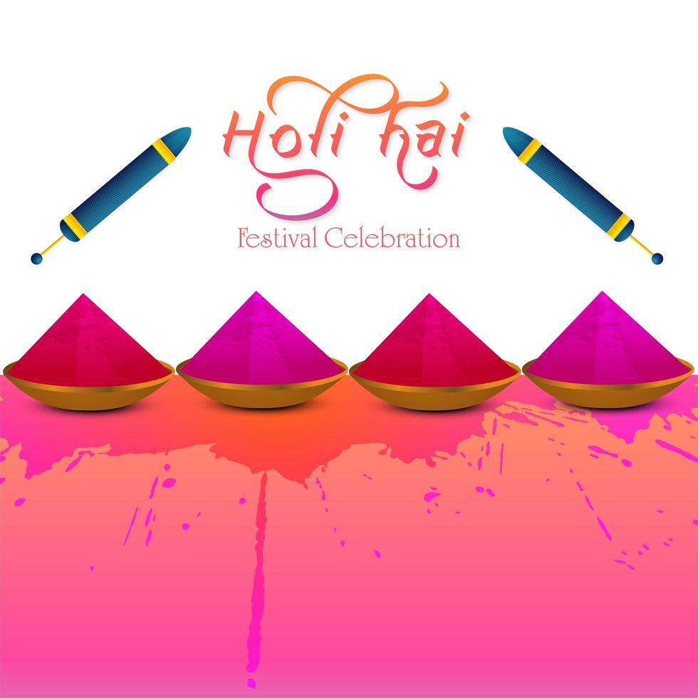 festival indiano di felice holi rosa e cartellino rosso vettore