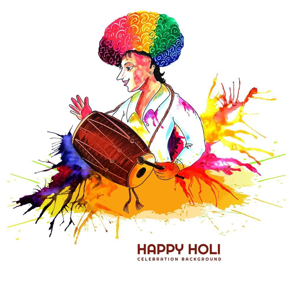 batterista che celebra il festival holi color vettore