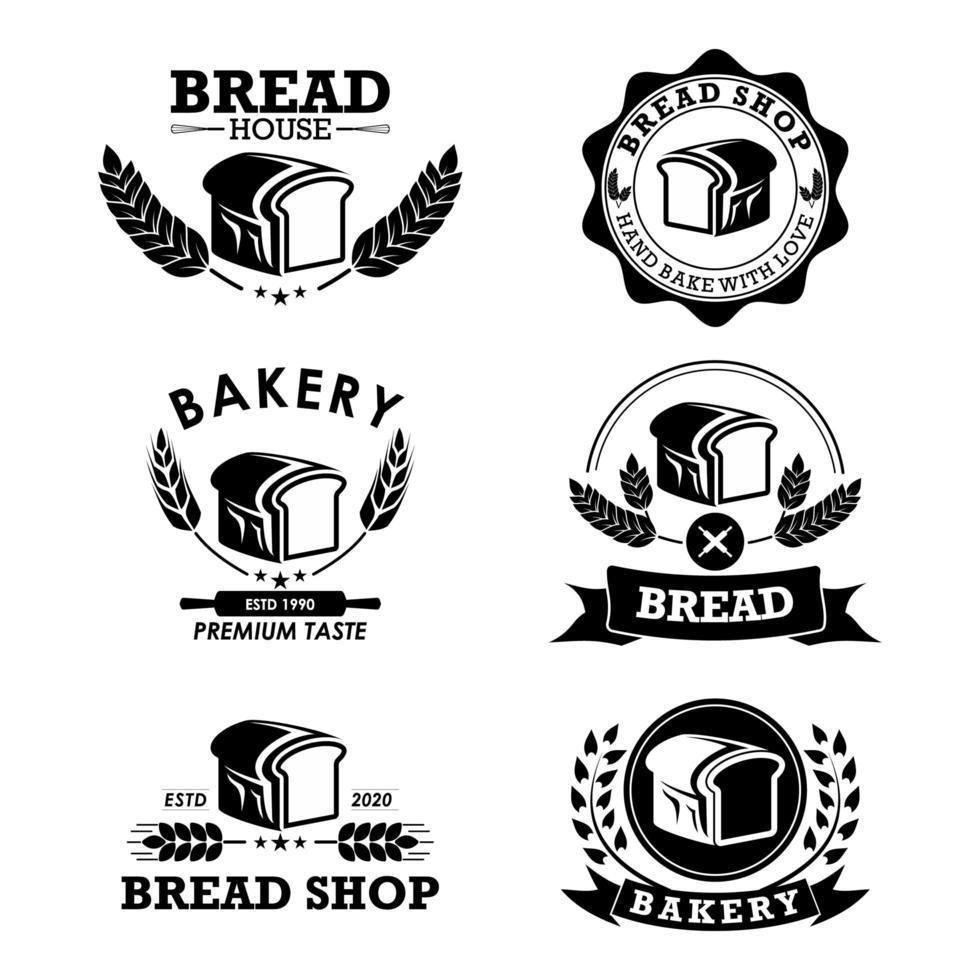 set logo panetteria e pane vettore