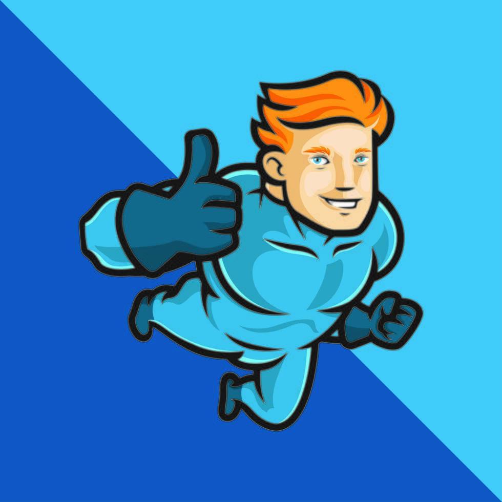 supereroe in blu che fa il pollice in alto vettore