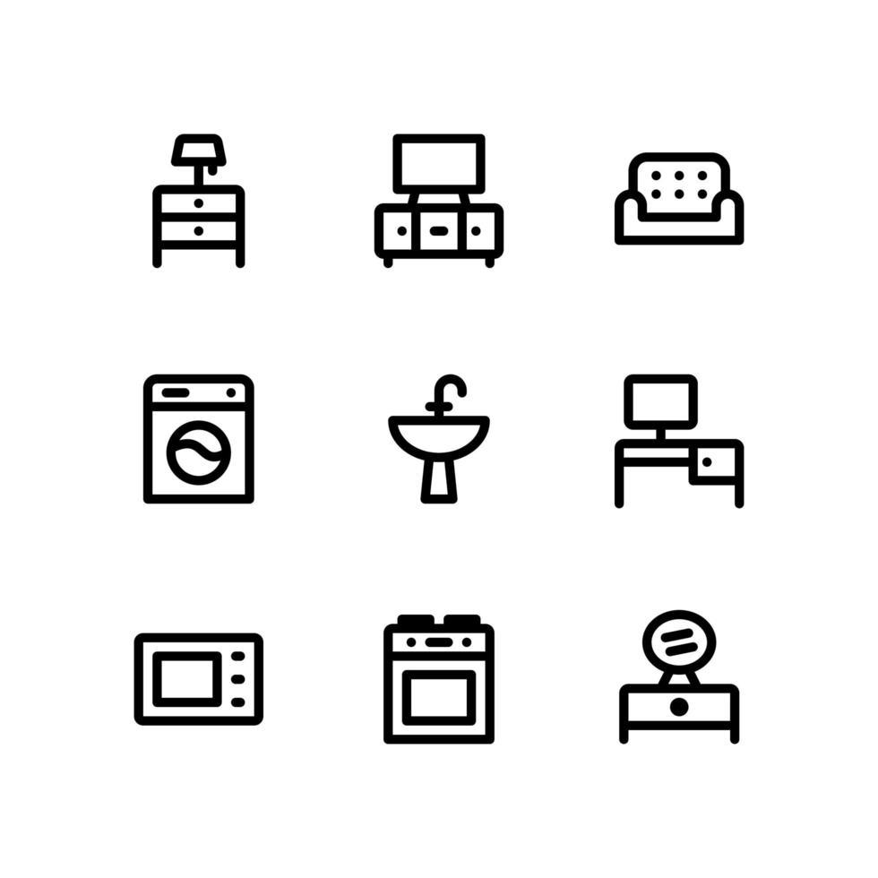 icone di linea di mobili tra cui armadio, divano e altro ancora vettore