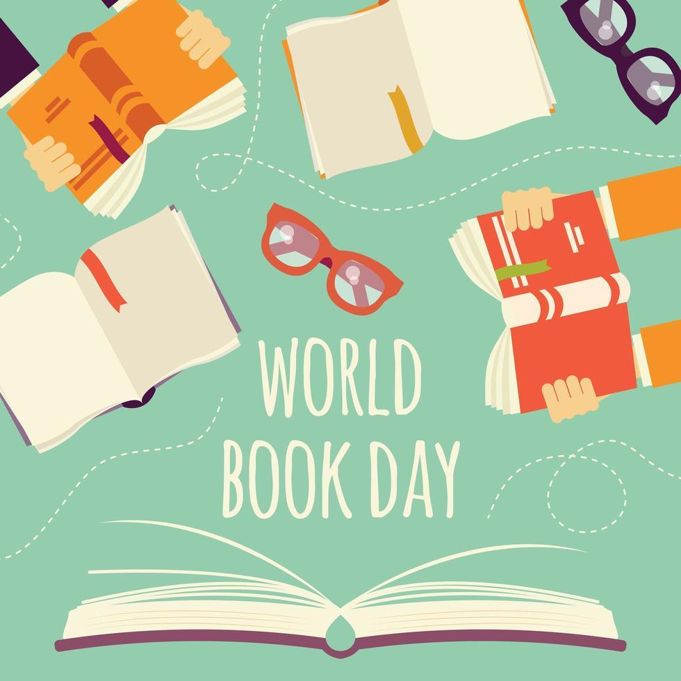 libro aperto con le mani in possesso di libri e bicchieri vettore