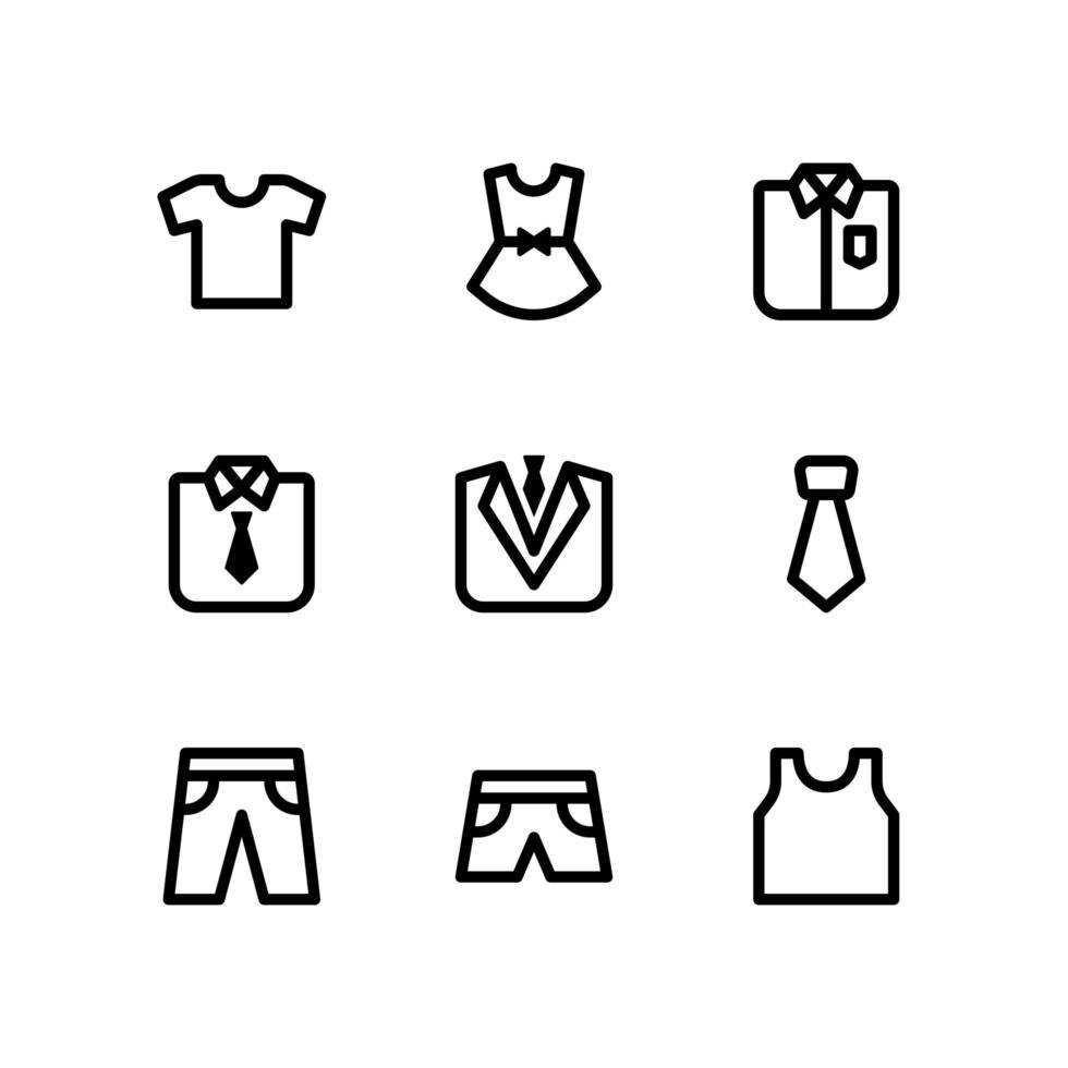 icone di linea di abbigliamento tra cui maglietta, abito e altro ancora vettore