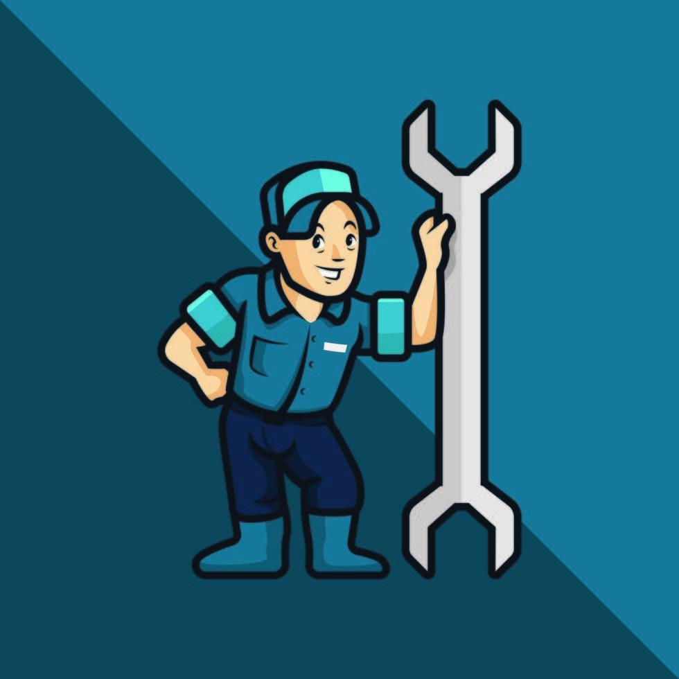 riparatore con chiave in stile cartone animato vettore