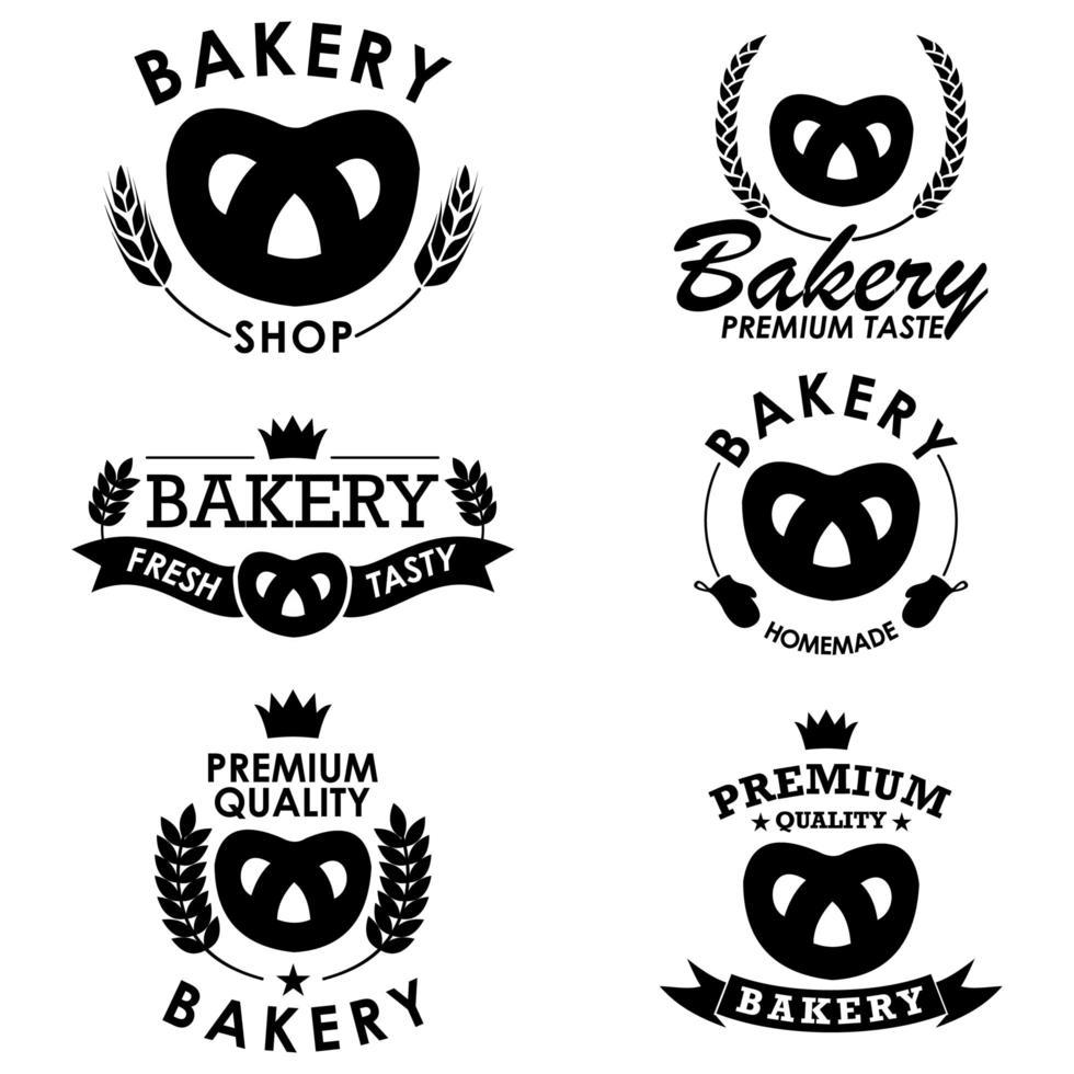 collezione di badge da forno con pretzel vettore