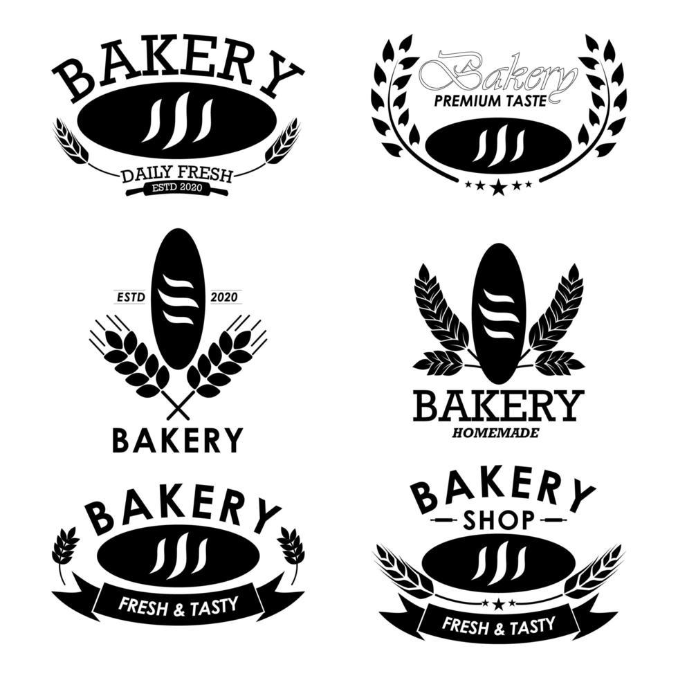 logo impostato per attività di panetteria con pane vettore