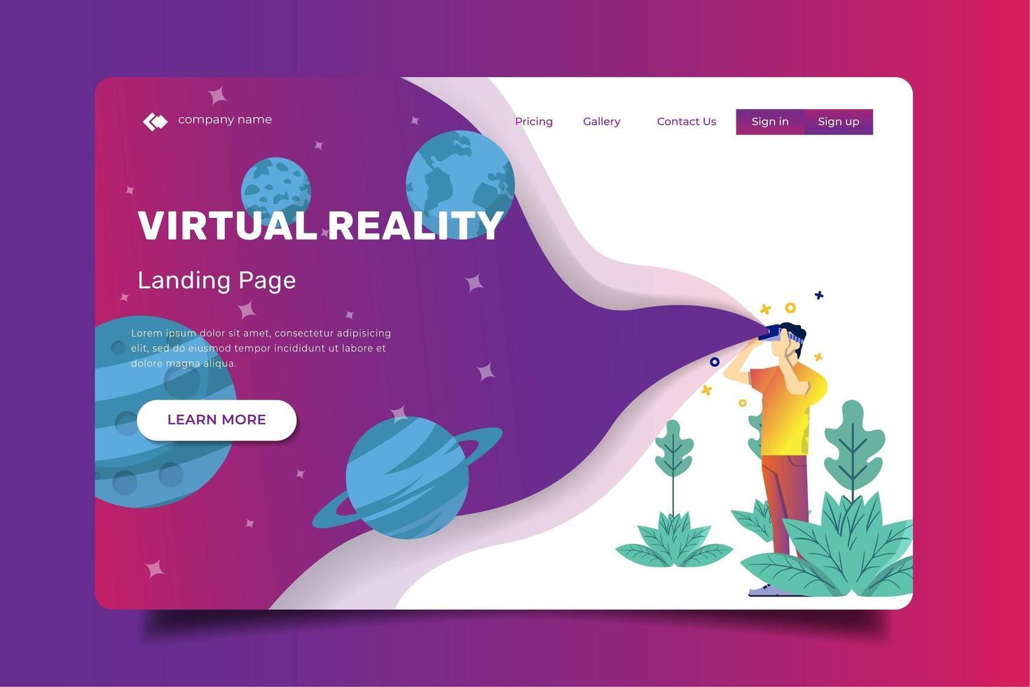 landing page con un uomo usa la realtà virtuale vettore