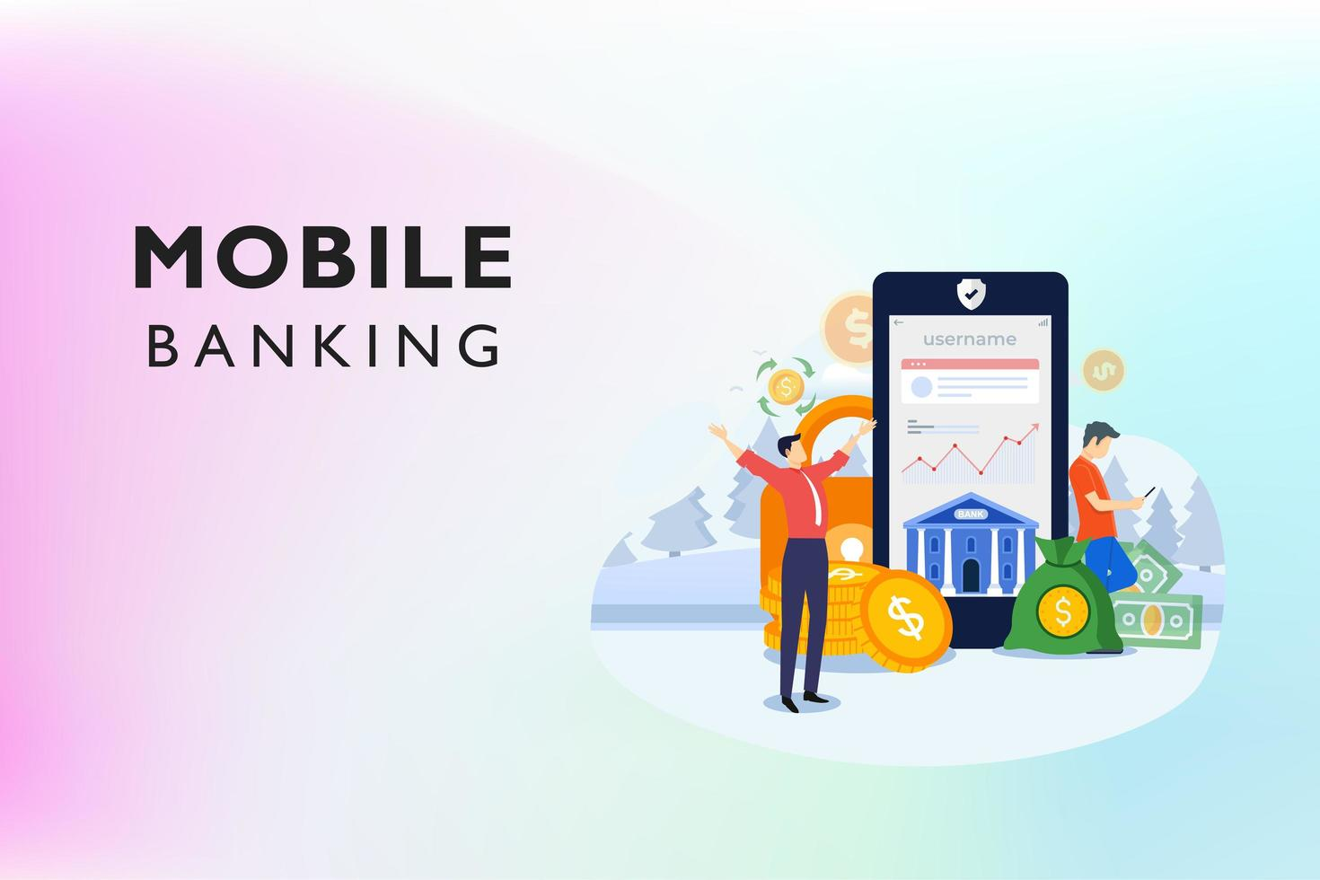 mobile banking online con denaro vettore