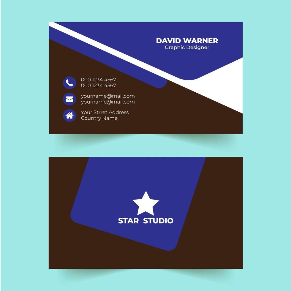 modello moderno biglietto da visita di colore blu creativo vettore