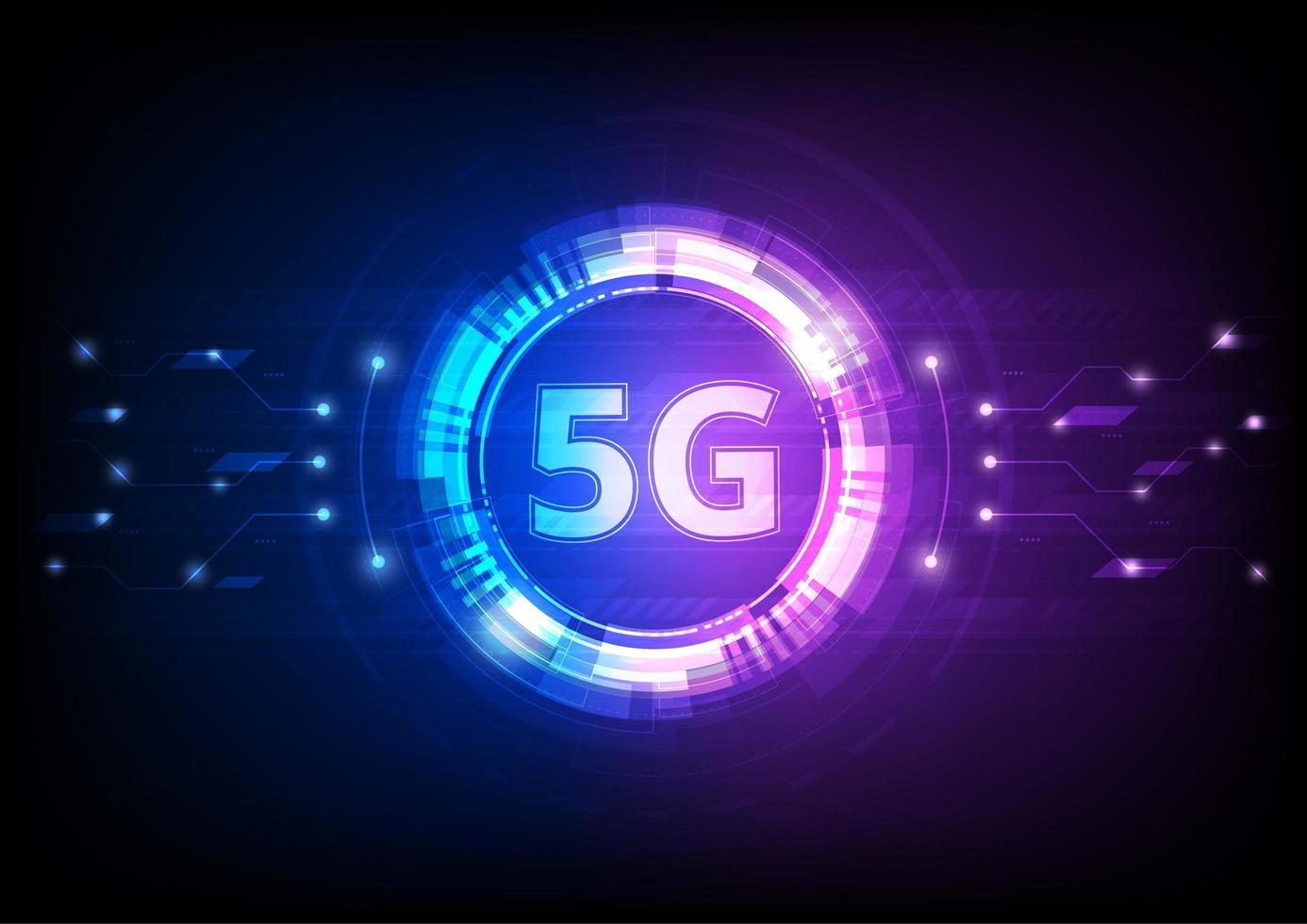 icona digitale tecnologia 5g blu e rosa vettore