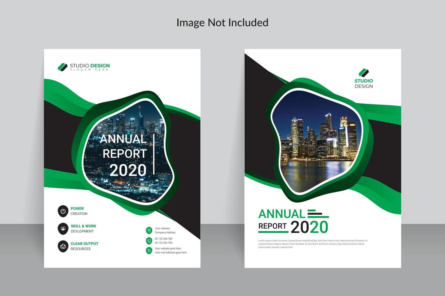 progettazione del modello del rapporto annuale verde e bianco di affari vettore