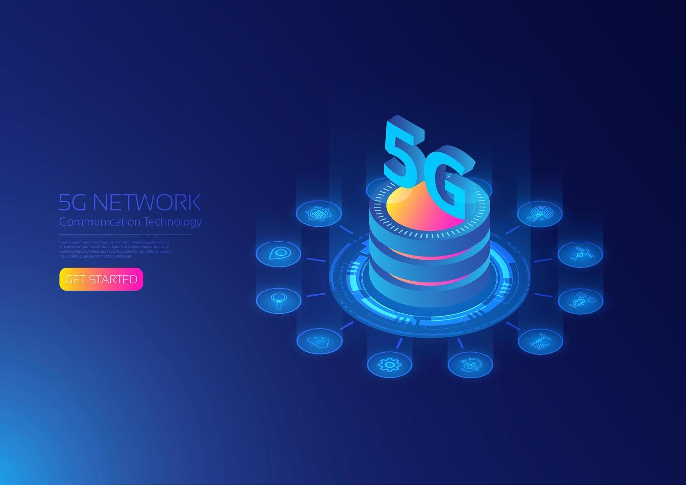 Tecnologia di rete 5g vettore