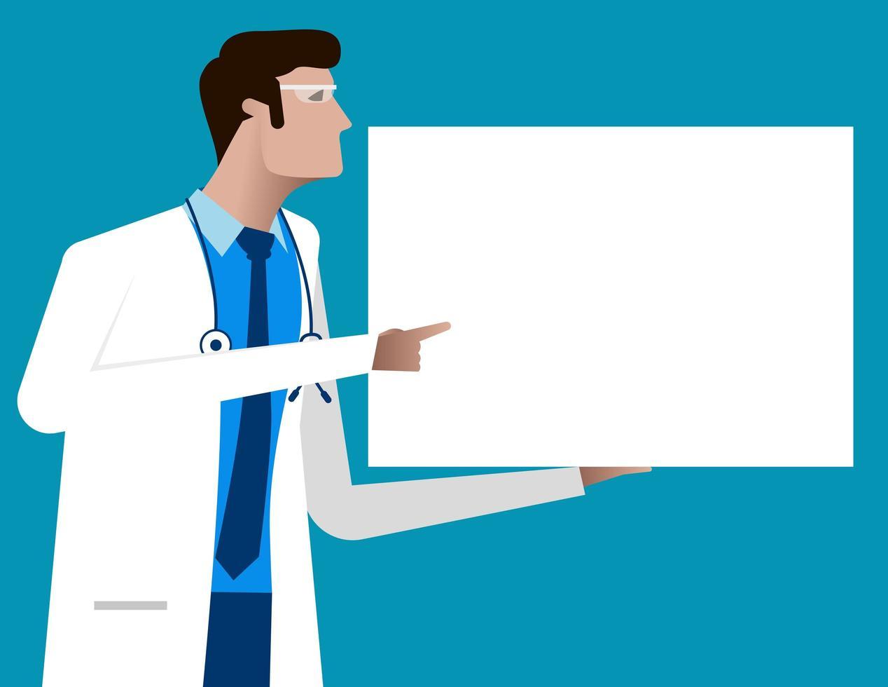 medico che punta a poster segno in bianco vettore