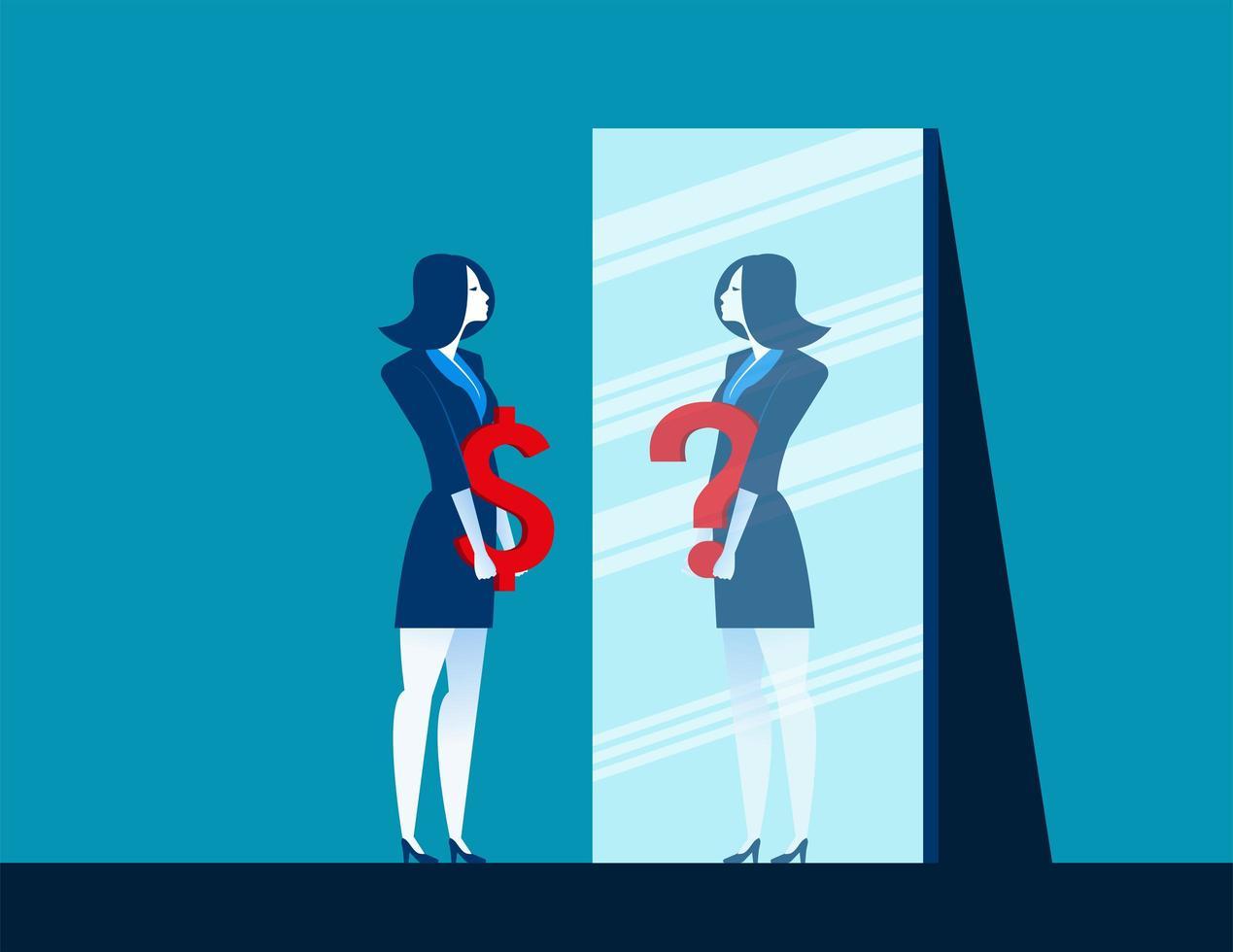 donna di affari con il segno del dollaro con la riflessione in specchio vettore
