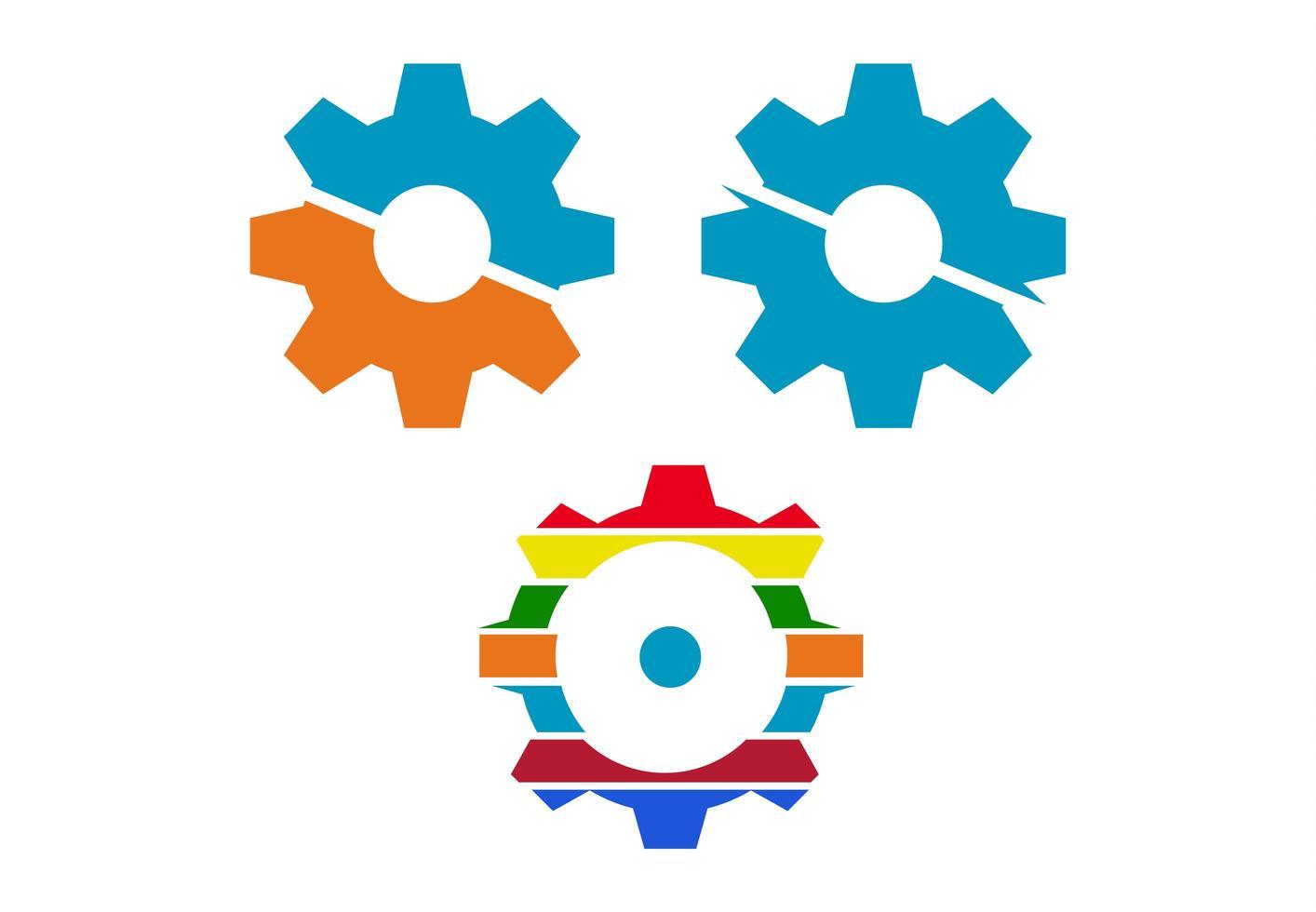 icone di ingranaggi colorati alla moda vettore