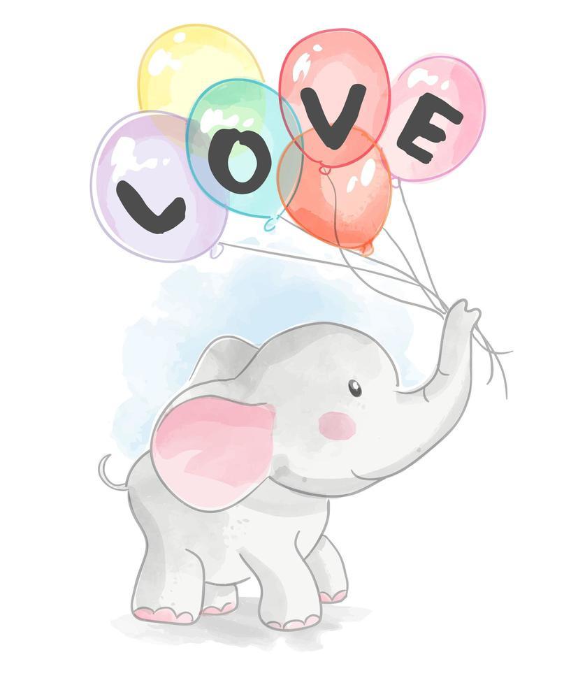elefante del fumetto che tiene i palloni di amore vettore