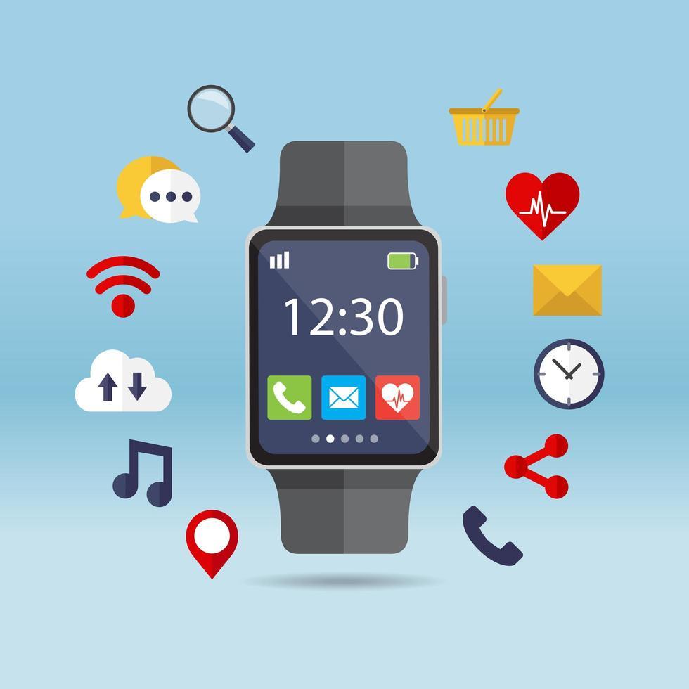 orologio intelligente e applicazioni vettore