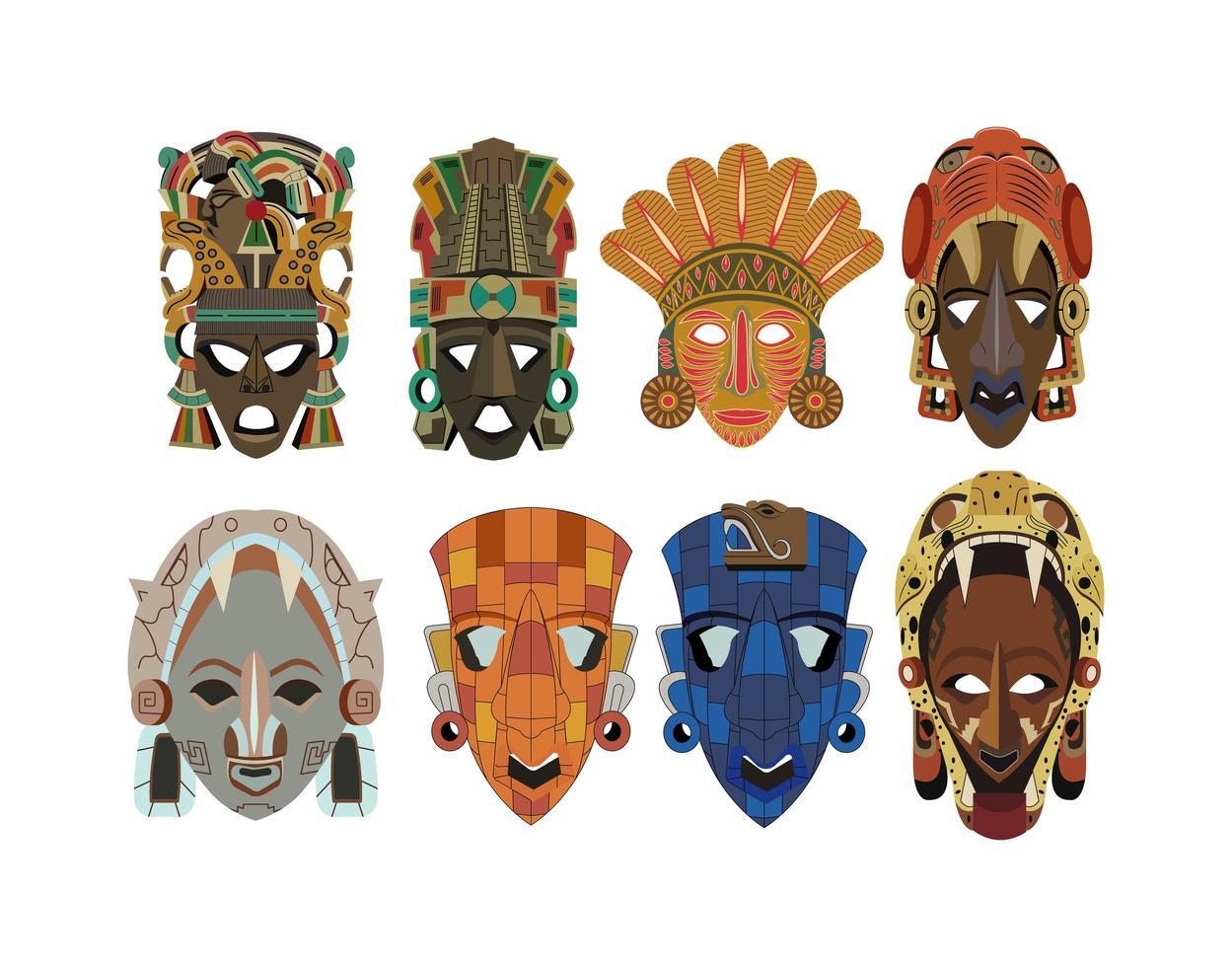 set di otto maschere Maya dettagliate ornate vettore