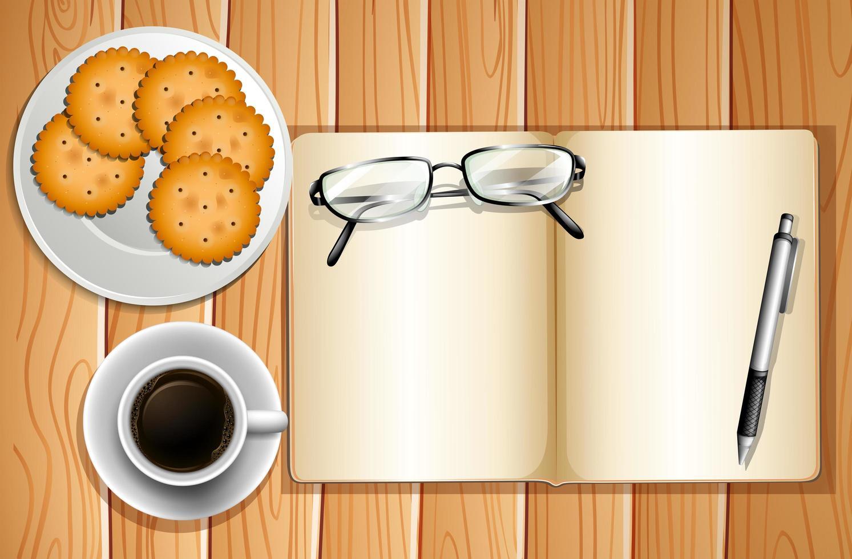 biscotti e sfondo di caffè vettore