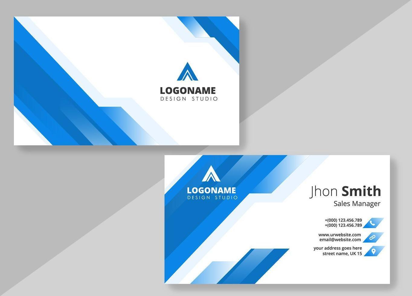 modello diagonale blu linee business card design vettore