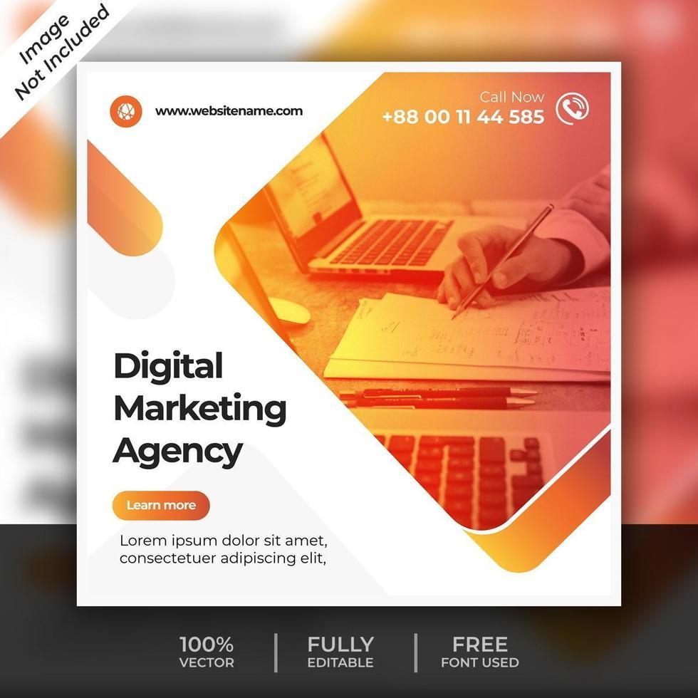 modello di post marketing digitale arancione vettore