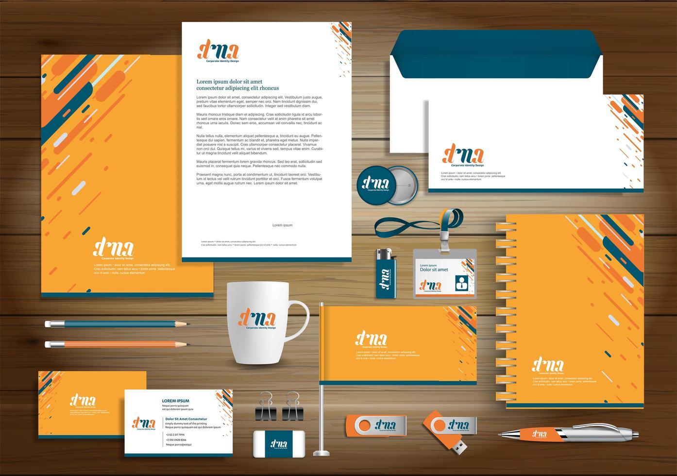 identità di design dinamico e arancione e articoli promozionali vettore
