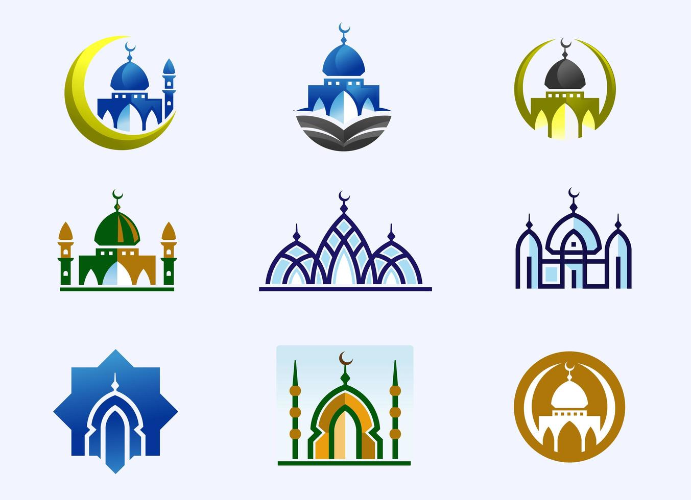 set di costruzione moschea minimalista vettore