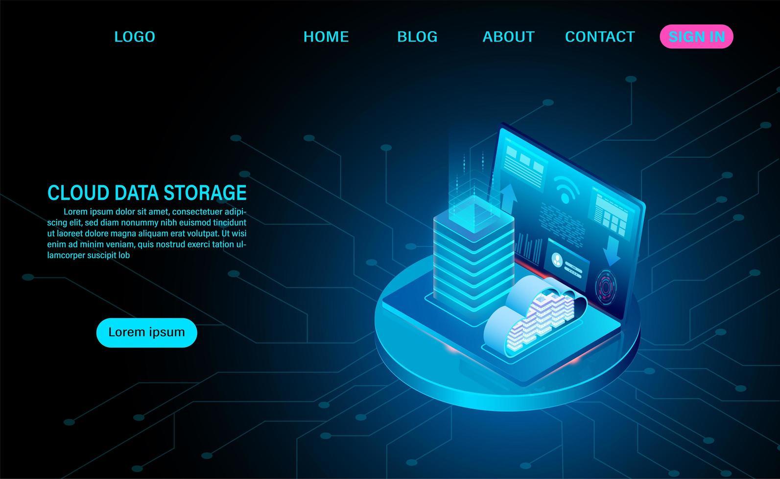 concetto di archiviazione dati cloud con laptop e server rack vettore