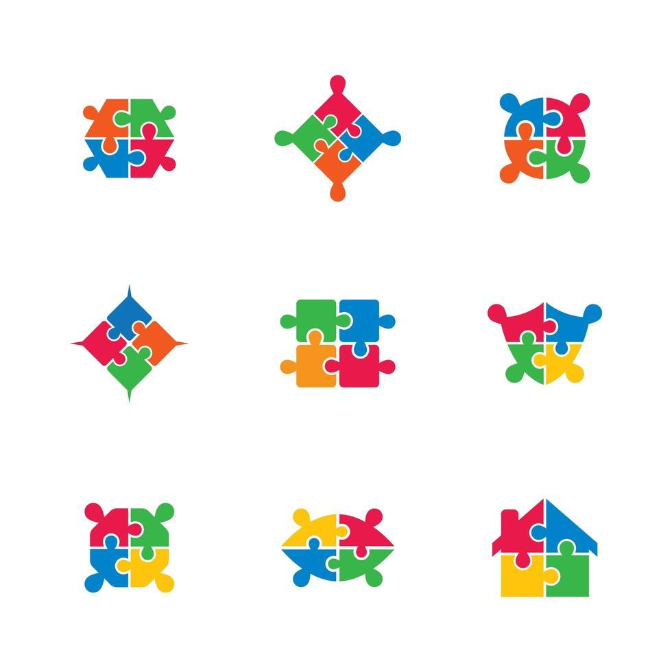 icona di puzzle impostato in colori vivaci vettore