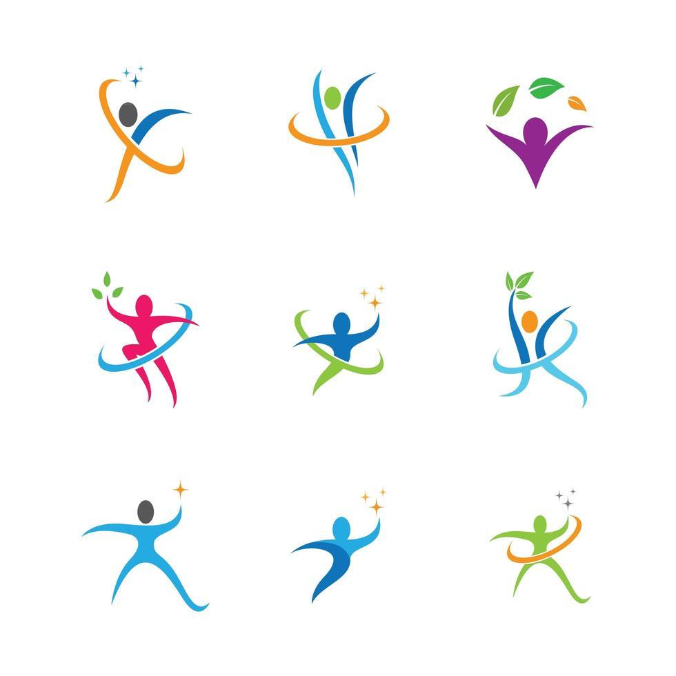 simboli di benessere in più colori vettore
