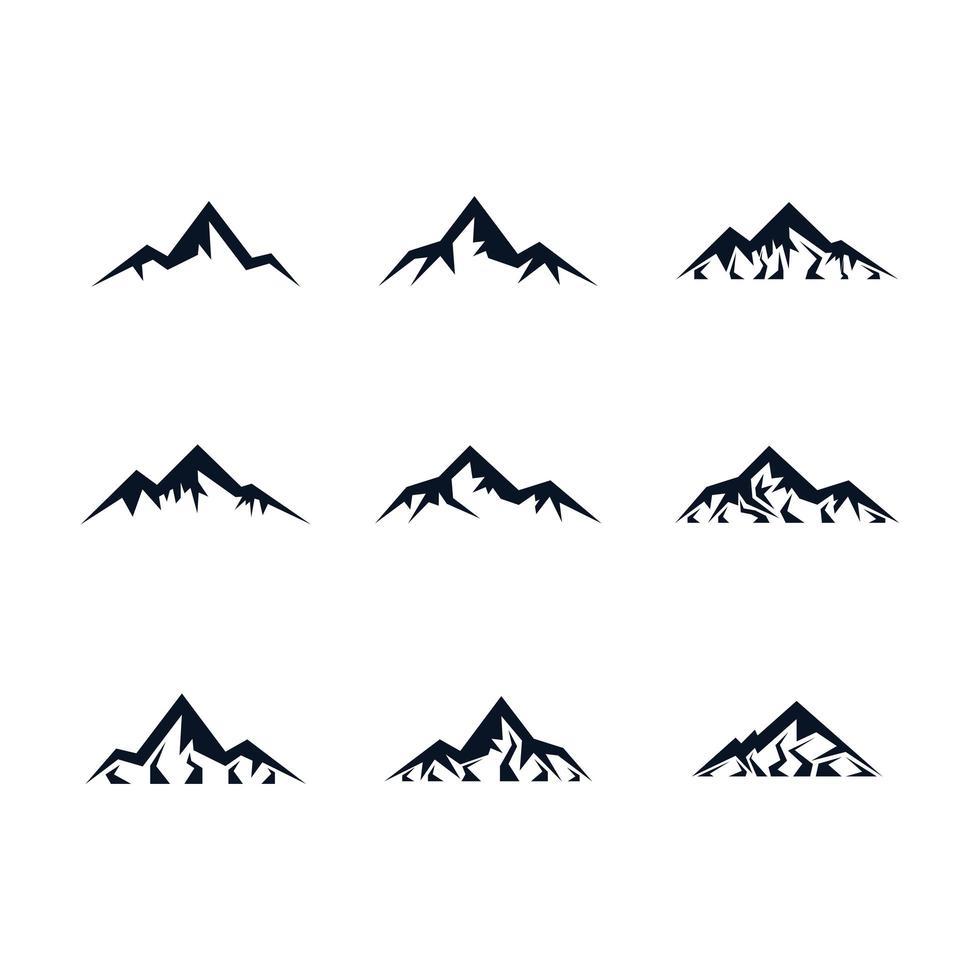 set di icone di montagna vettore