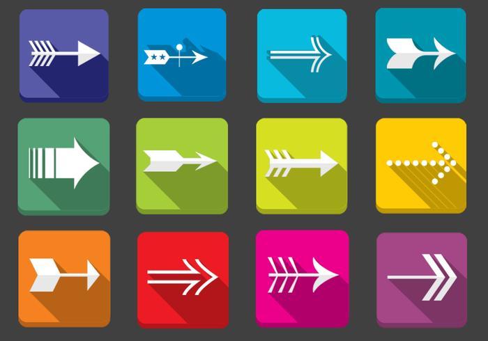 Insieme di vettore delle icone di freccia piatta