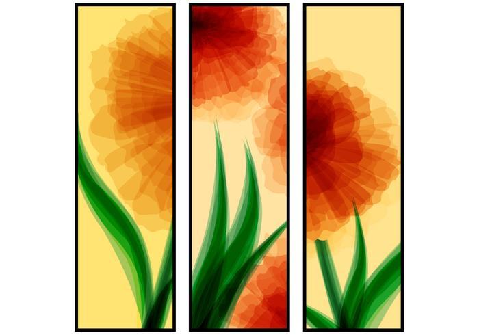 Insieme di vettore di fiore astratto rosso bandiere