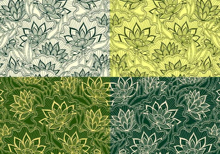 Emerald Vintage Floral Vector Patterns