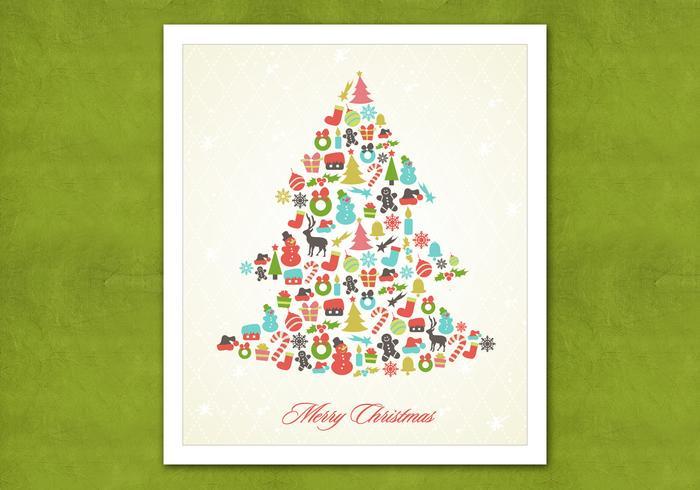 Retro Christmas Tree Vector Background