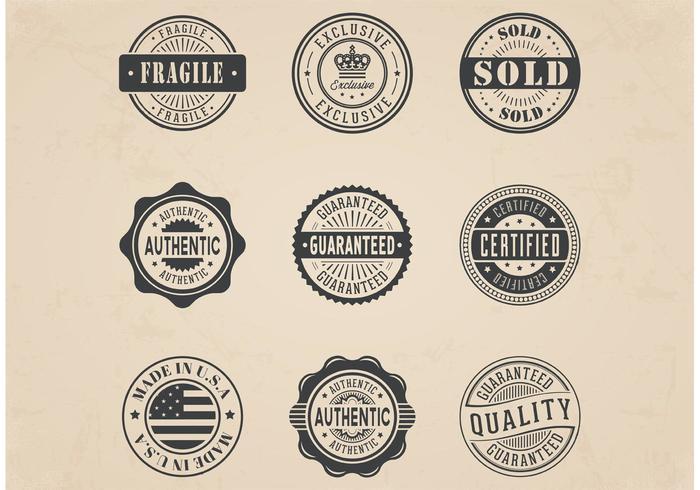 Set di distintivi di francobolli commerciali vettoriali gratis