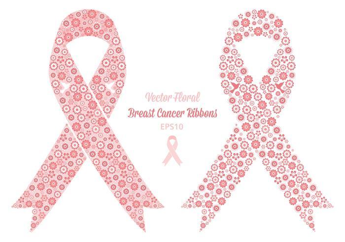 Nastri floreali del cancro al seno di vettore