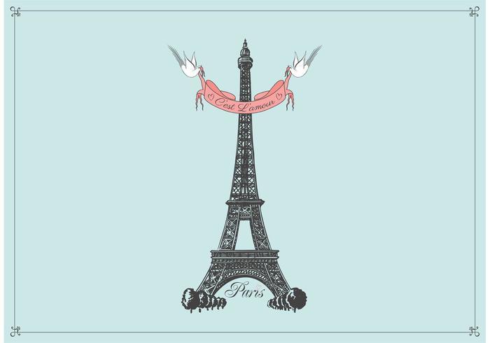 Fondo disegnato a mano di vettore della torre Eiffel