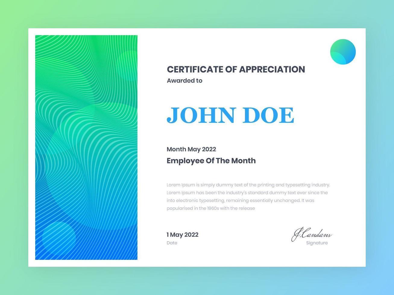 certificato moderno di modello di apprezzamento vettore