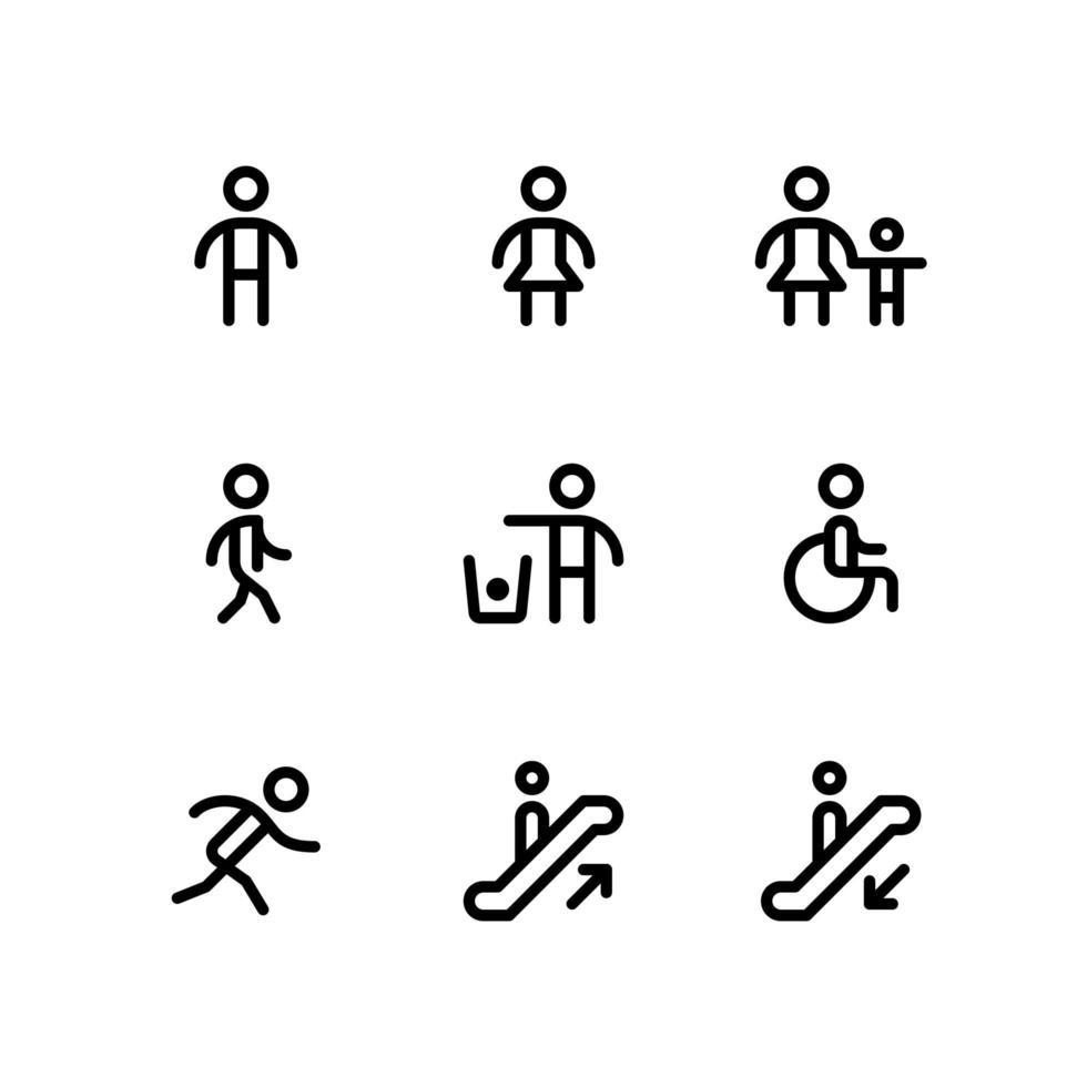 icone delle linee di ricerca del percorso vettore