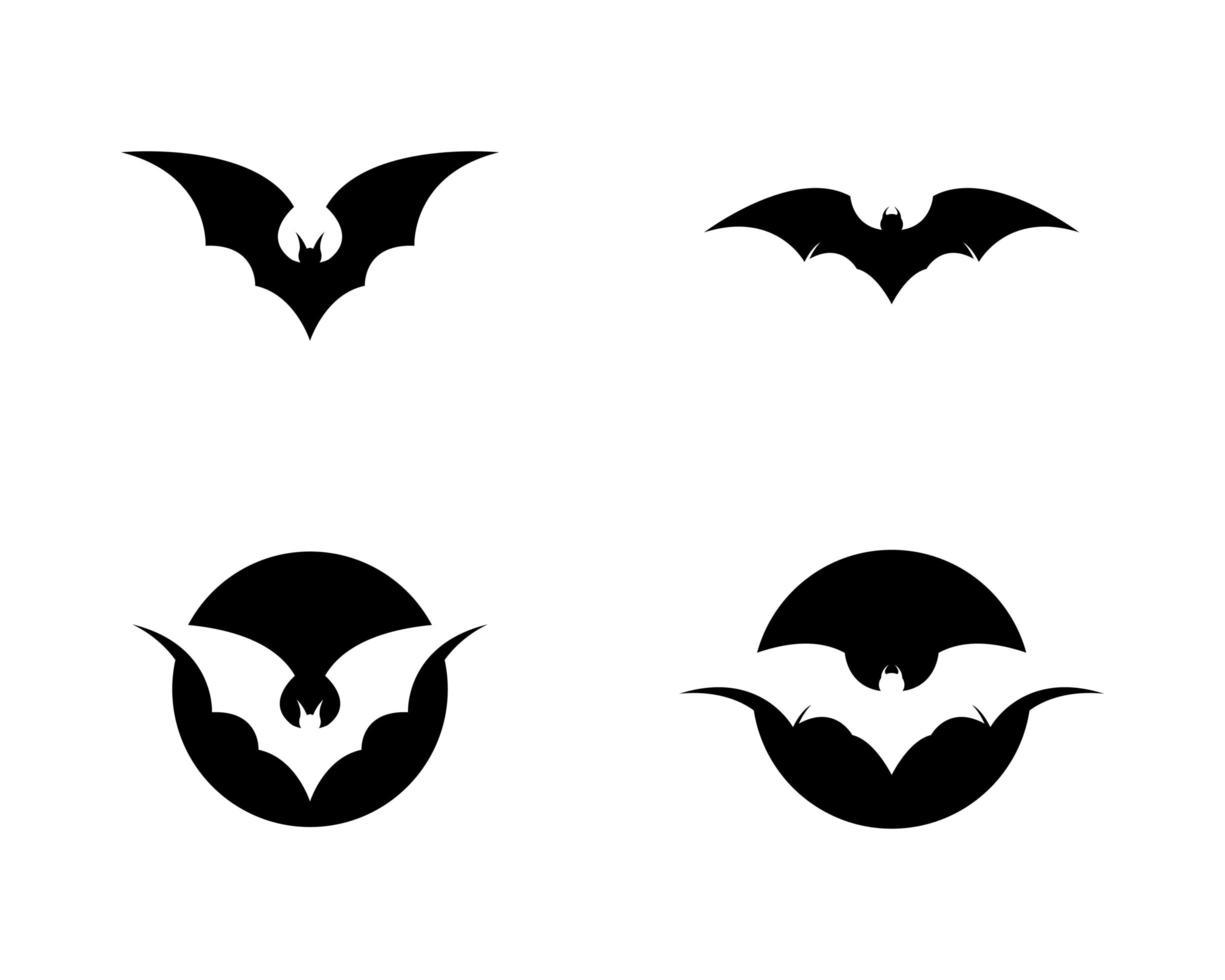 set di icone pipistrello nero vettore