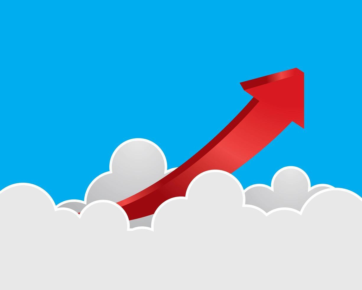 simbolo della freccia che sale dalle nuvole vettore