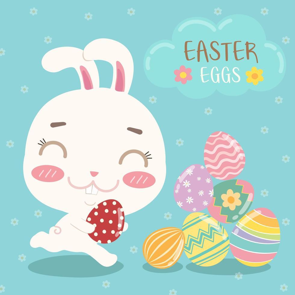 carta di pasqua colorata con coniglio, uova e testo vettore